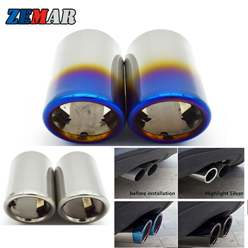 2pcs Car Exhaust Tip Muffler Pipe Cover For BMW E90 E92 325i 328i Volkswagen VW Golf 7 6 Mk7 Polo Bora Jetta Mk6 Scirocco 1.4T image