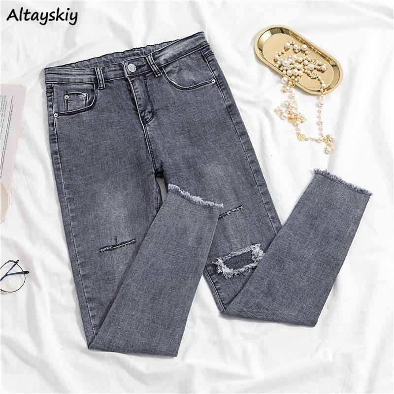 Jeans Women Spring Vintage Ripped Hole Smoke Gray Chic Retro Tight Jean High Elasticity Cool Slim Female Soft Trendy New Ulzzang