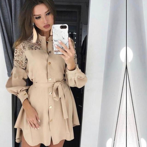 2020 Women Lace Splice shirt dresses Long sleeve Button Office Ladies Dresses Mesh Embroidery Solid Color sashes Mini Dress(China)