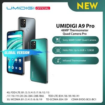 """Umidigi a9 pro smartphone desbloqueado 32/48mp quad câmera 24mp câmera selfie 4gb 64gb/6gb 128gb helio p60 6.3 """"fhd + versão global 1"""