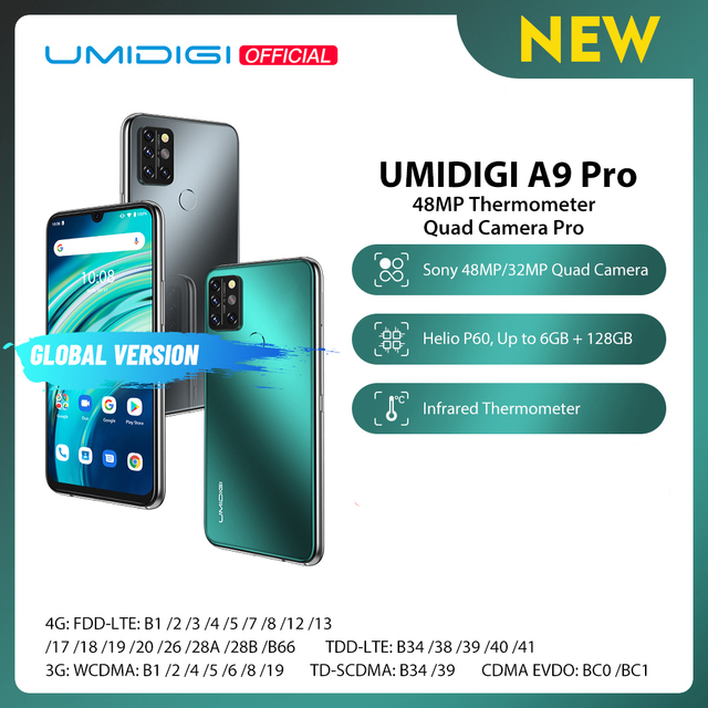 "UMIDIGI A9 Pro SmartPhone Unlocked 32/48MP Quad Camera 24MP Selfie Camera 4GB 64GB/6GB 128GB Helio P60 6.3"" FHD+ Global Version"