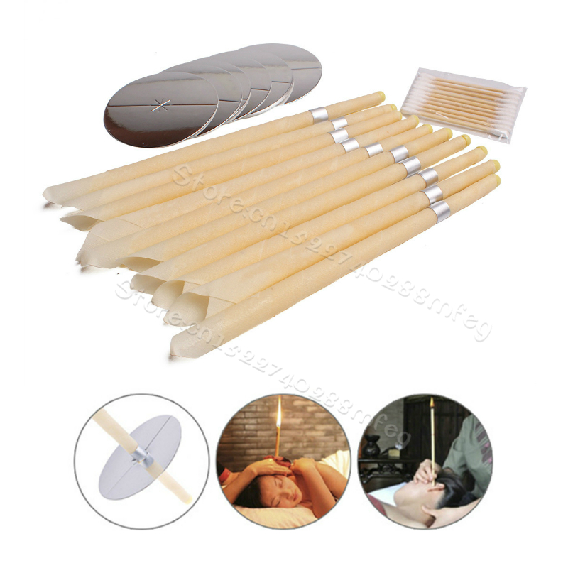 Ear Cleaner Hopi Ear Candle 10Pieces Wax Remover Horn Earplug Tray Round Aromatherapy Ear Candle Indiana Candling Fragrance