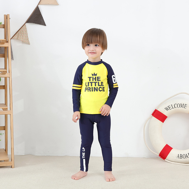 Children Two-piece Swimsuits Long Sleeve Yellow Crown Blue Trousers-KID'S Swimwear Hot Springs Clothing This Non-Swimming Cap
