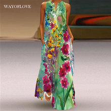 Wayoflove floral impressão verde vestido feminino 2021 longo casual vestidos de verão mulher sem mangas meninas praia maxi vestido