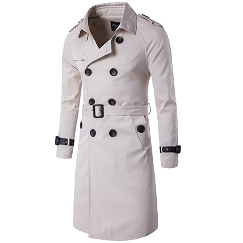 Mens Long   Trench   Coat Autumn England Style Double Breasted Coat with Belt Slim Windbreaker Gentry Outwear Coat Elegant Vintage