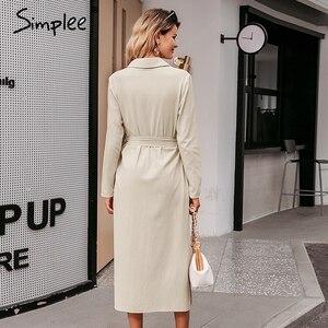 Image 4 - Simplee Streetwear Vestido largo de fiesta solapa arco algodón suelto maxi vestido elegante oficina trabajo de dama desgaste Otoño Invierno retro vestido