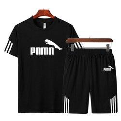 Мужской повседневный комплект, мужская спортивная одежда, комплекты для фитнеса, модная летняя футболка с коротким рукавом, шорты, комплект...