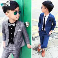 Kids Blazers Boys Formal School Suits for Weddings 2019 Boys Plaid Blazer Pants 2pcs Tuxedo Kids Prom Party Dress Clothing Sets