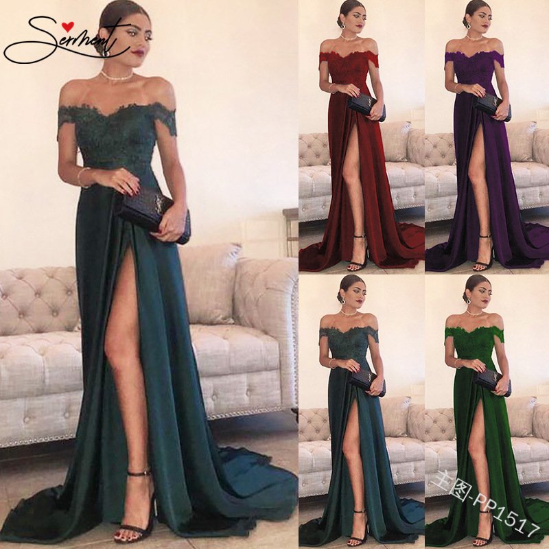 SERMENT Elegant Sexy Word Shoulder Split Lace Dress 50cm Trailing Suitable For Formal Evening Party Banquet Lacework Long Dress