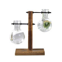 Table Desk Bulb Glass Hydroponic Vase Flower Plant Pot with Wooden Tray Office Decor HFing(China)