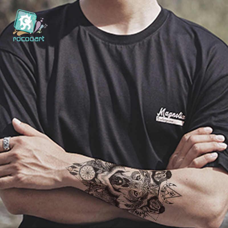 Rocooart büyük dövme etiket kurt ağaçları sahte dövme Taty kına Tatouage vücut sanatı geçici dövme çıkartmalar kadınlar için kolları