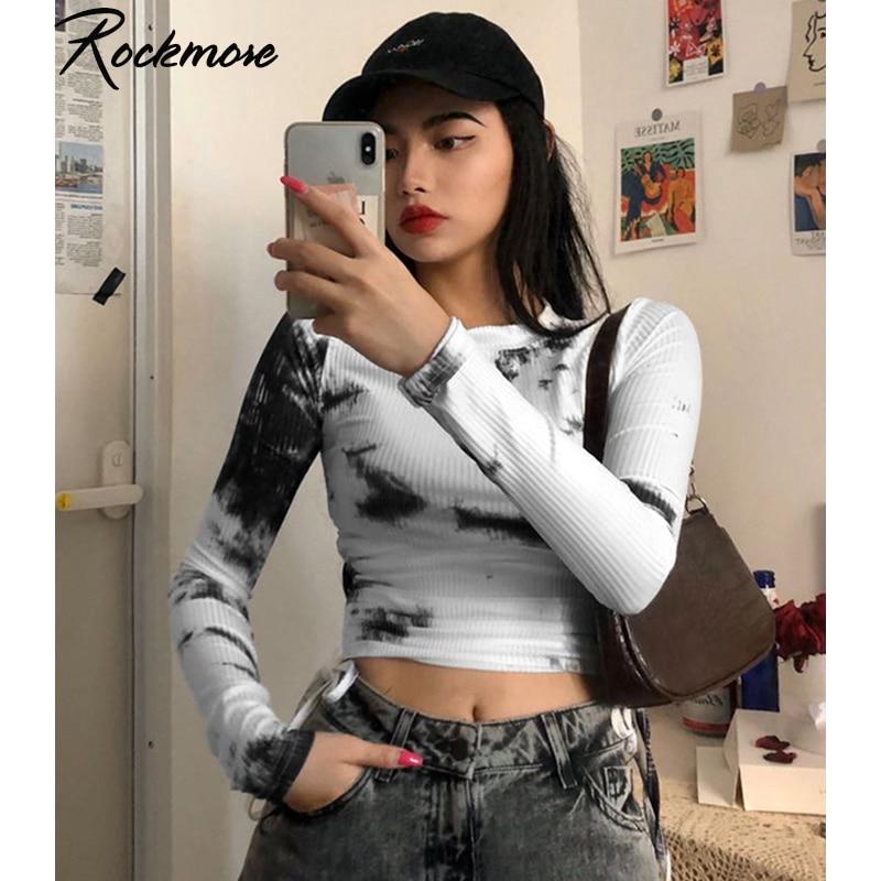 Rockmore Tie Dye T Shirt Ladies Bodycon Drawstring Bandage Shirts Women O-Neck Long Sleeve Crop Top Streetwear Vintage Tshirt