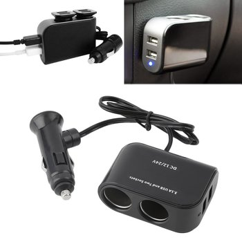 2 Way Car Cigarette Lighter +LED Light Switch Auto Socket Splitter Charger USB 12V/24V vehicle lighter adapter image