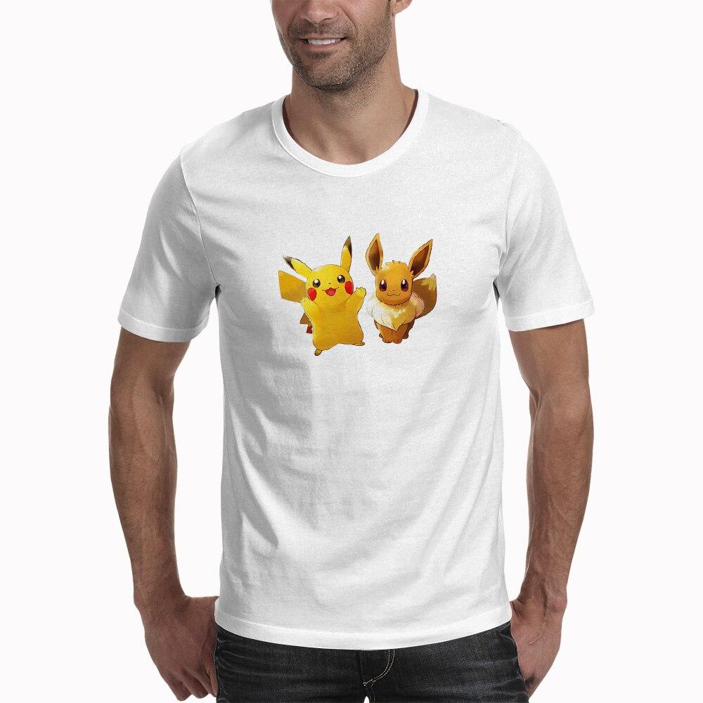 Pokemon Eevee Pikachu T Shirt Men 3D Print T-shirt Summer Cotton Tee Tops Short Sleeve T Shirts