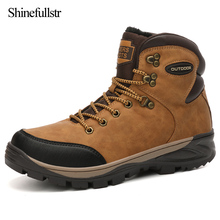 Super Warm Hiking Shoes For Men Outdoor Non-slip Hunting Boots Lace Up Men's