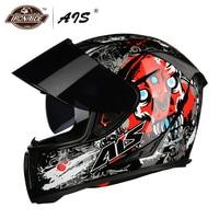 AIS Motorcycle Helmet Casco Moto Double Visor Moto Helmet Open Face Motocross Helmet Modular Motorbike Capacete 9 Colour Helmets     -