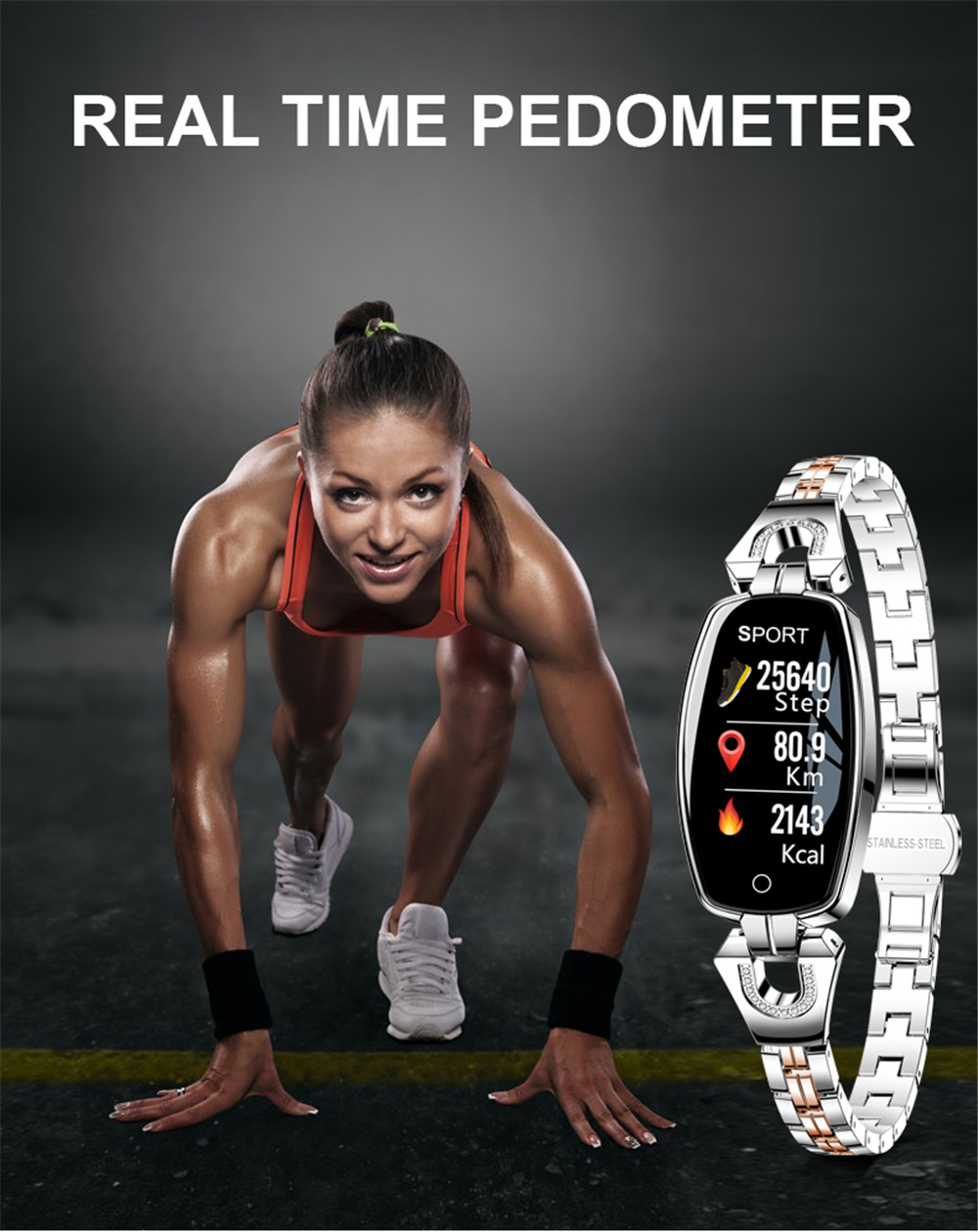 H88f381b24cdc4f91b258ae669ae504b0k Greentiger H8 Smart Bracelet Women Activity Fitness Tracker Heart Rate Monitor Blood Pressure IP67 Waterproof Smart Wristband