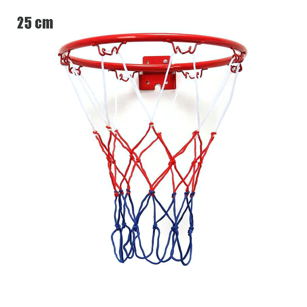 25CM Steel Hanging Basketball Wall Basketball Rim With Screws Mounted Goal Hoop Rim Net Sports Netting Indoor Outdoor