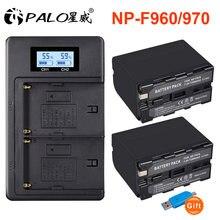 Palo 7200mah np f970 f960 литий ионная батарея камеры + lcd