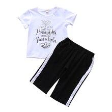 1-6T Baby Boy Summer Clothes White Tee Top+Black Stripe Pants Set Toddler Boys Clothing