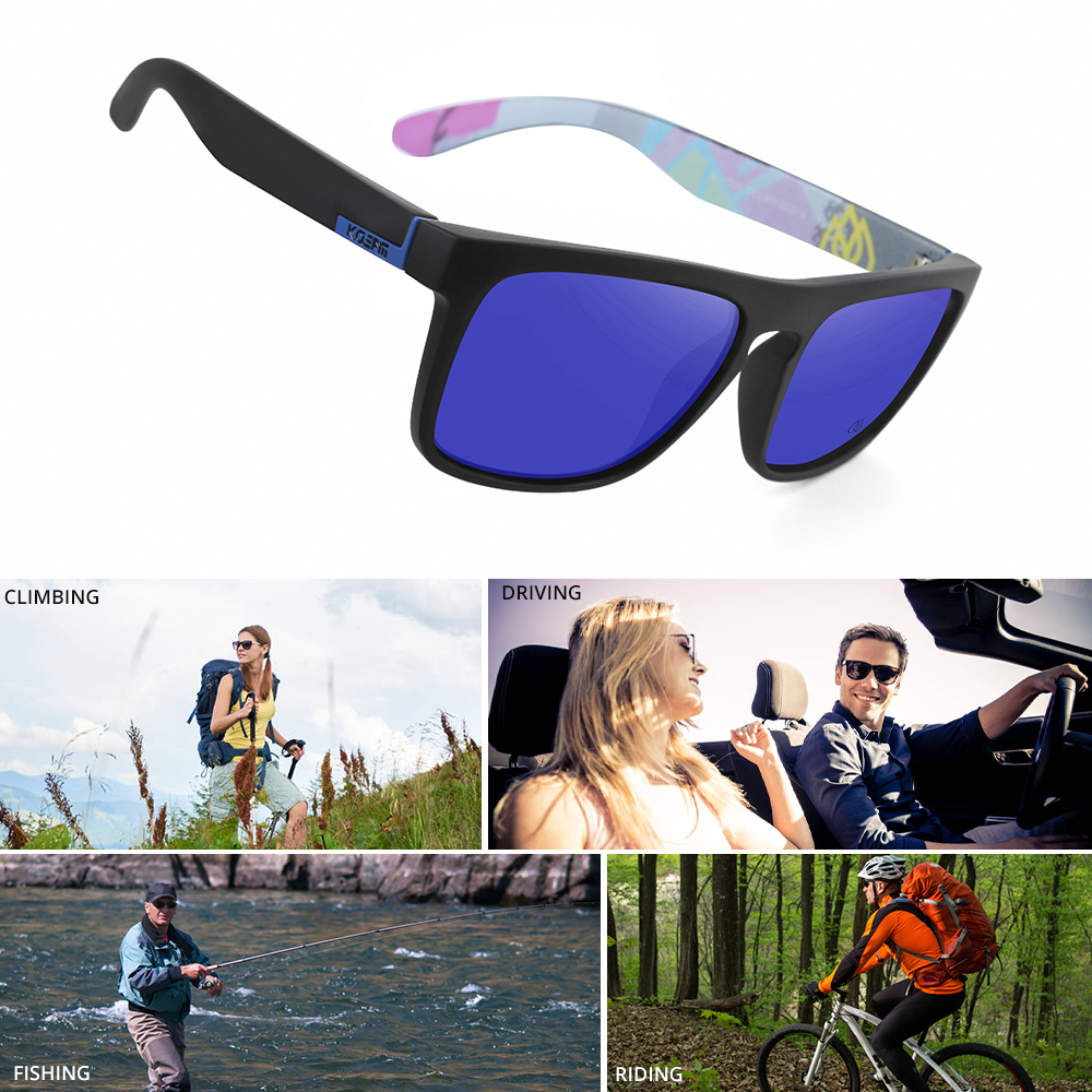 Brand Square Sunglasses Men Sport Eyewear TR90 Frame UV400 Protection Mirrored Blue lens With Case KDEAM LUXURY KD1006-C5