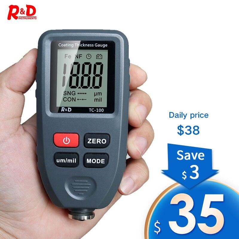 R & D – mesureur d'épaisseur Automobile TC100, testeur de peinture Automobile, mesureur d'épaisseur de revêtement, manuel russe Ultra-précis 0.1 microns/0-1300 Fe & NF