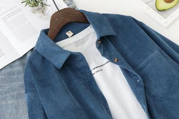 Corduroy Women Blouses Shirts Tunic Womens Tops And Blouses 2021 Womenswear Long Sleeve Clothing Button Up Down Loose White New 4