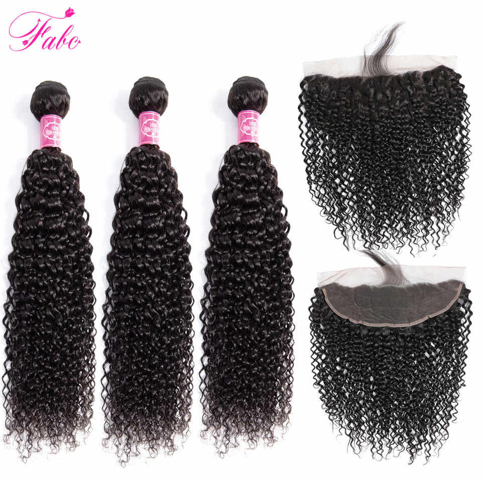 FABC Hair Brazilian Hair Weave Bundles Kinky Curly Human Hair Bundles With Frontal With Baby Hair Pre Plucked Natural Hairline