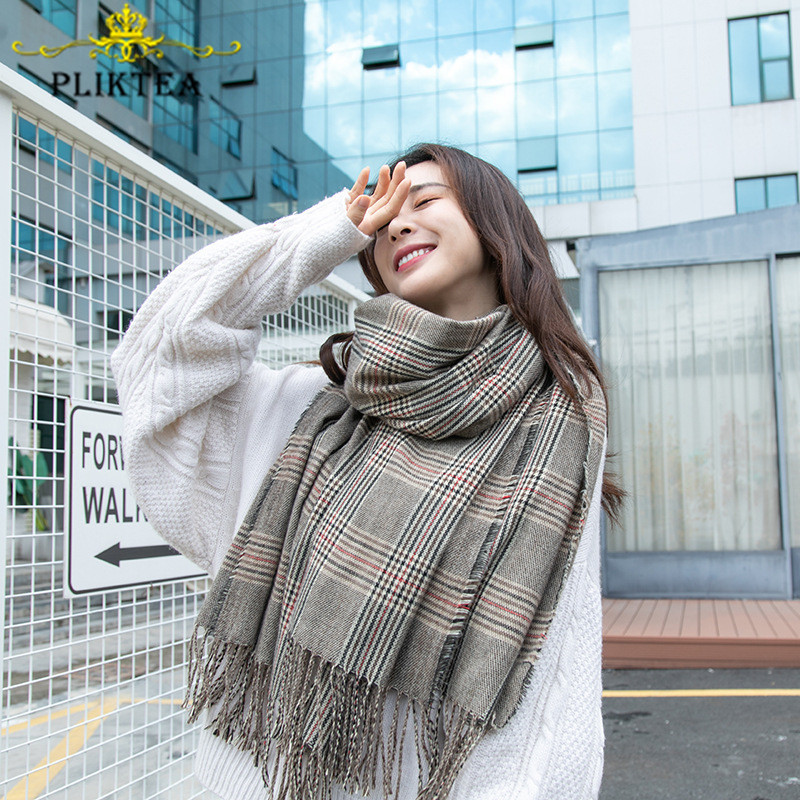 Gray Plaid Cashmere Scarf Tassel Faux Cashmere Winter Tippet Scarves Design Femme Shawl Female Wrap Ladies Scarf Plaid Pashmina