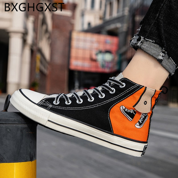 Hip hop men canvas shoes high fashion vulcanized skateboard shoes men 2020 Graffiti summer high top mens shoes casual кросовки image