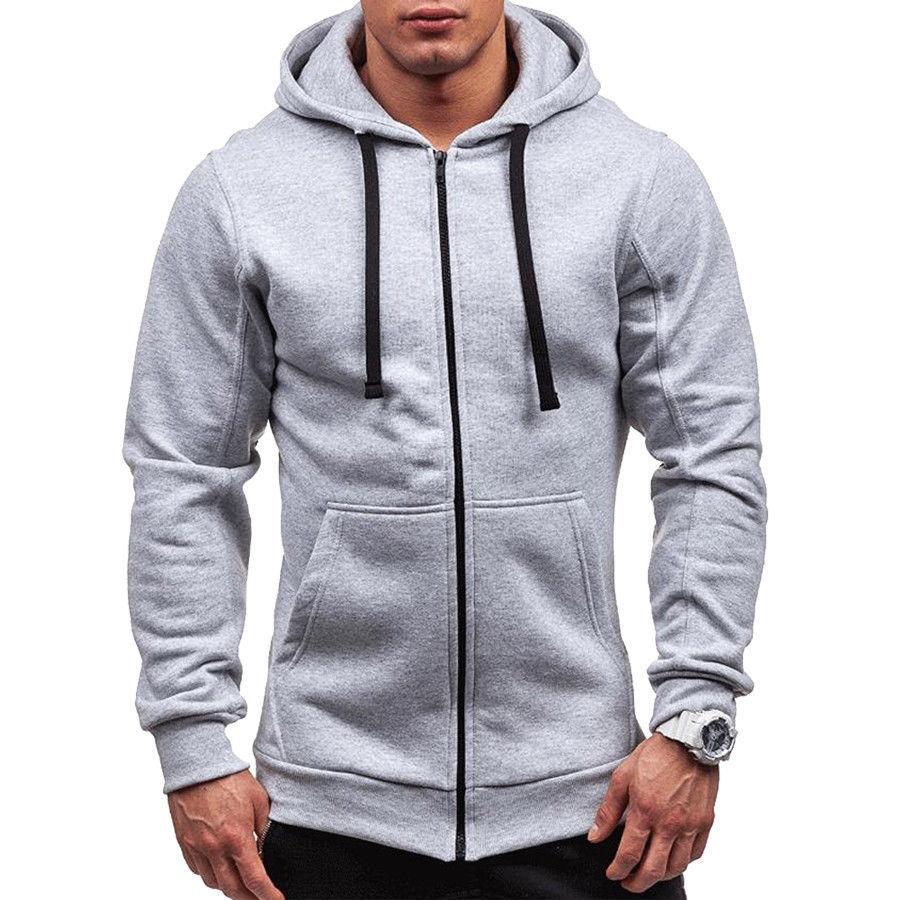 H88f41c424c5644f39272f28bf2a495f05 Men's Solid Zip Up Hoodies Classic Modis Winter Hoodies Sweatshirt Jacket Coat Tops Long Sleeve Casual Male Hoodies