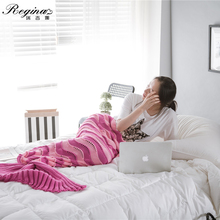 цена на REGINA 2020 Summer Crochet Sleeping Bag Soft Knitted Mermaid Tail Blanket Fashion Hollow-out Contrast Color Plaid Boho Blanket