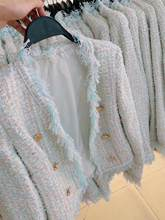 New carry water blue knitted cardigan small sweet wind weave tweed restore ancient ways of cultivate morality woollen coat(China)