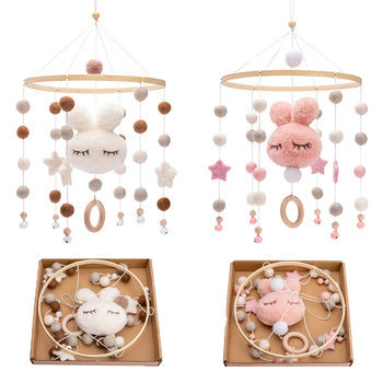 Baby Rattles Crib Mobiles Toy Cotton Rabbit Pendant Bed Bell Rotating Music Rattles For Cots Projection Infant Wooden Toys