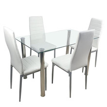 110cm Dining Table Set Tempered Glass Dining Table with 4pcs Chairs Transparent & Creamy White Dinning Desk