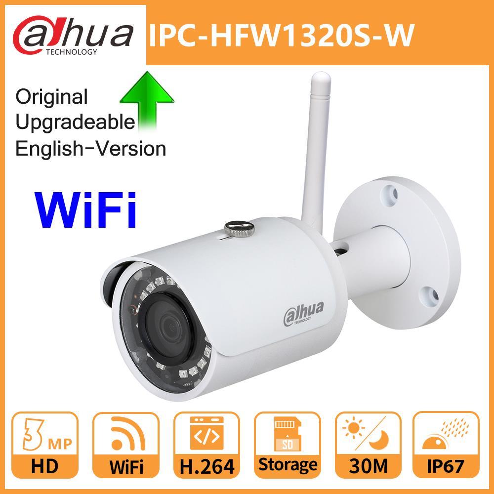 Dahua Original IP Camera WiFi IPC-HFW1320S-W 3MP IR 30M IP67 SD Card Slot Smart IR BLC HLC DWDR Wireless Upgradeable Mini Bullet