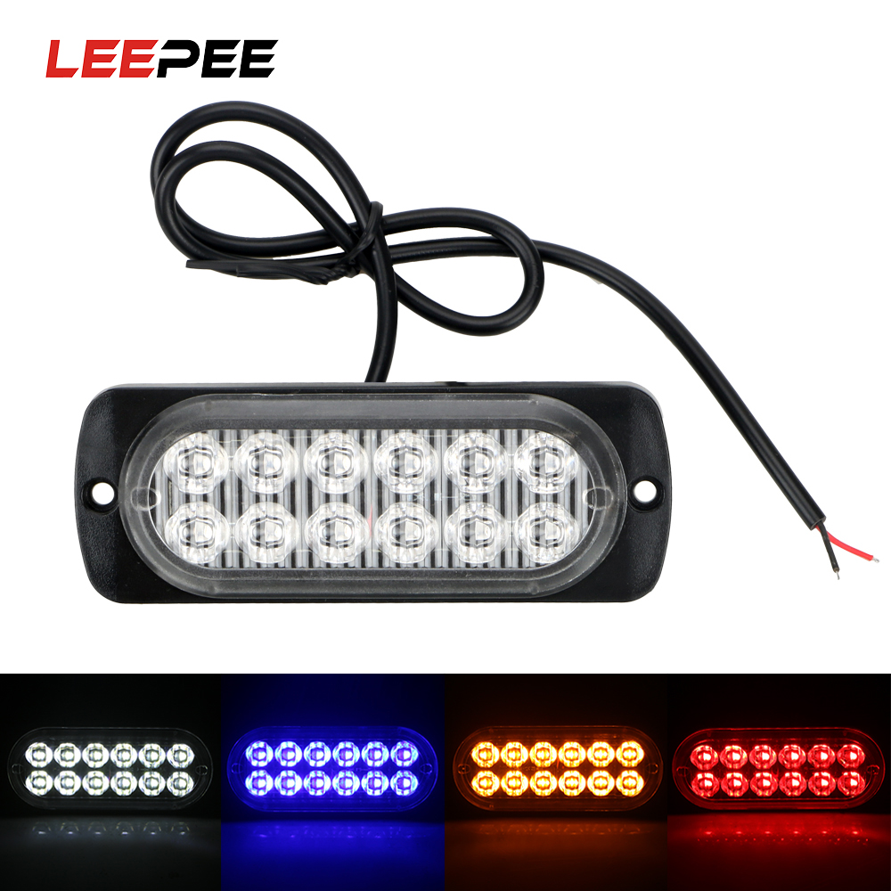LEEPEE LED Warning Light 18W 12 LED Auto Accessories Car Lights Assembly Car Truck Emergency Side Strobe Signal Lamp Car-styling