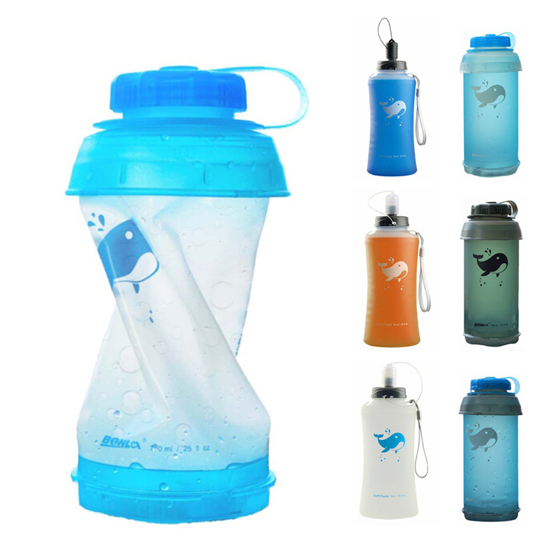 Outdoor Folding 750ML Soft Water Bottle Portable Sports Soft Water Bottle Kettle Folding Water Bottle Camping Travel Running|Bicycle Water Bottle| |  - title=