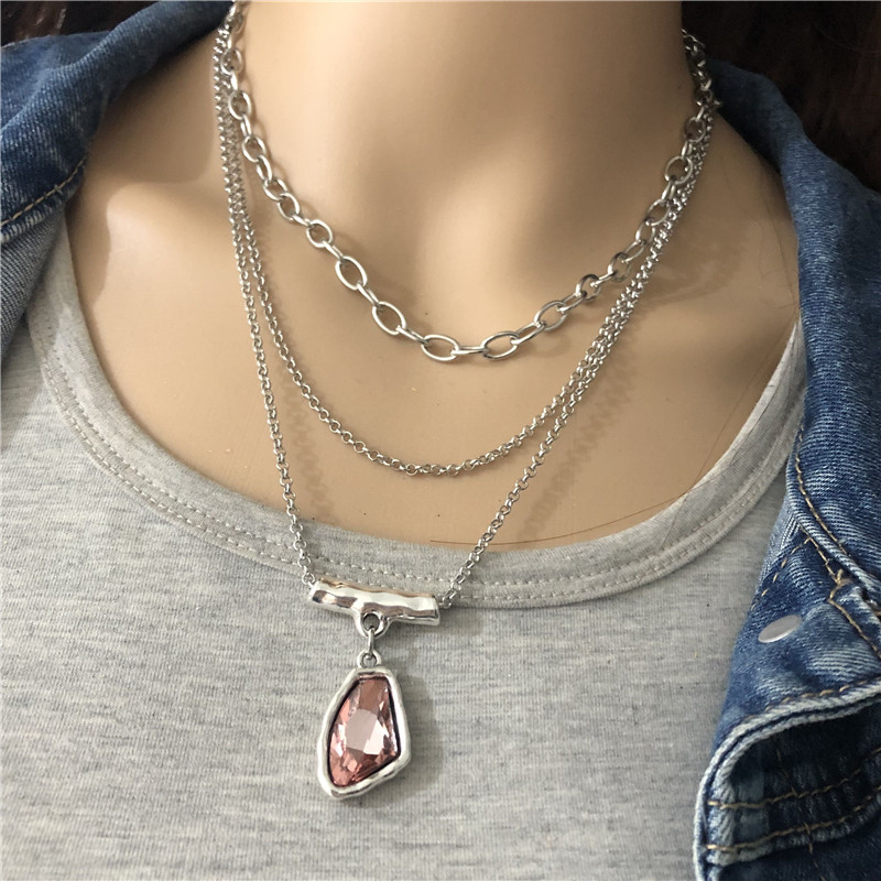 Anslow Fashion Jewelry Antique Silver Multilayer Chain Irregular Crystal Pendant Choker Necklace For Women Femme Gift LOW0023AN