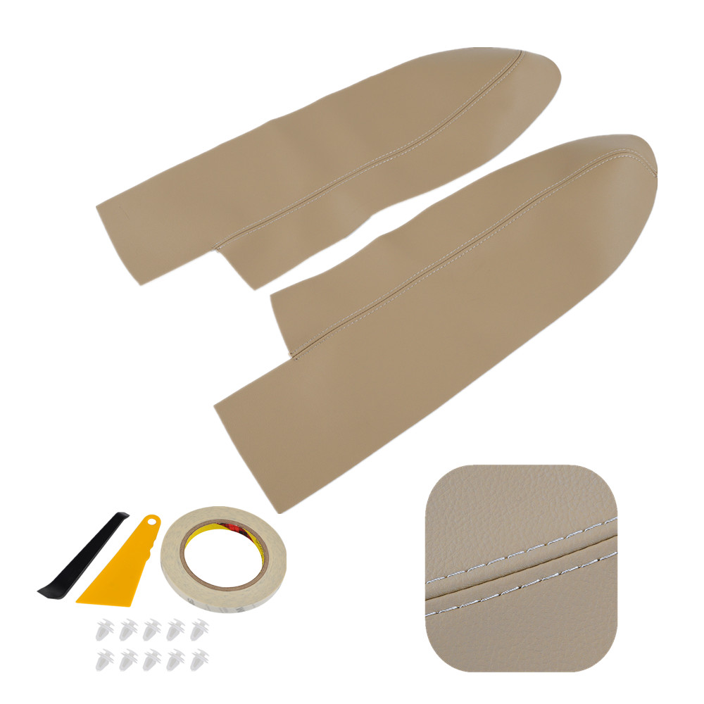 H2CNC Beige Pair Leather Front Door Panels Armrest Cover For Honda CR-V 2007 2008 2009-2012