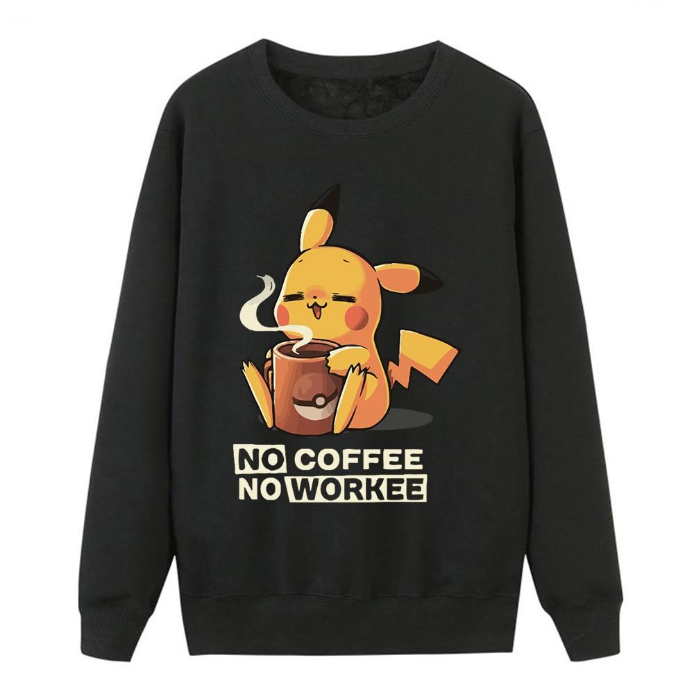 Cartoon Harajuku Women Hoodies Sweatshirts Women Fleece Crewneck Pullover No Coffee No Workee Kawaii Sportswear For Women