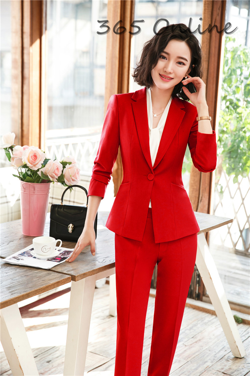 Novelty Red Formal Professional Women Business Suits With Pants And Jackets Coat For Ladies Office Work Wear Blazers Pantsuits