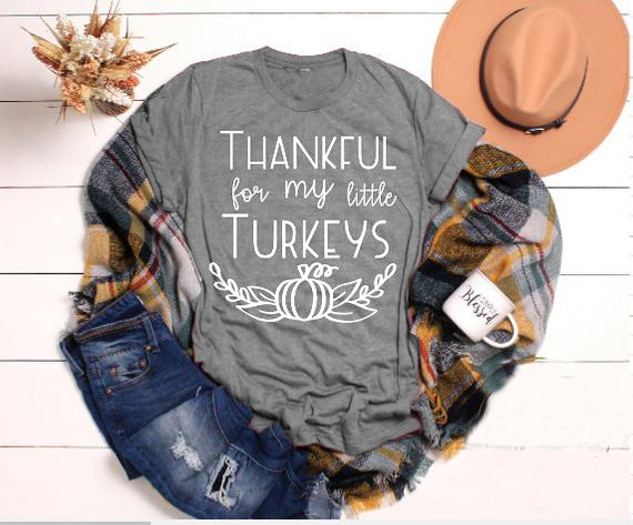 2019 Harajuku Grunge Tops Camisetas Thankful For My Little T-Shirt Fall Pumpkin Thanksgiving Teacher Shirt  Thankful