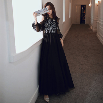 Embroidery Formal Evening Dress CR379 Black A-Line Robe De Soiree Half Sleeve Elegant Gowns Strapless Crepe Women Party Dresses