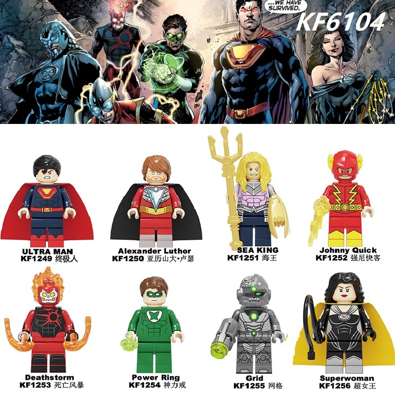 Crime Syndicate Building Blocks Ultra Man Alexander Luthor Sea King  Johnny Quick Deathstorm Figures For Children Toys KF6104