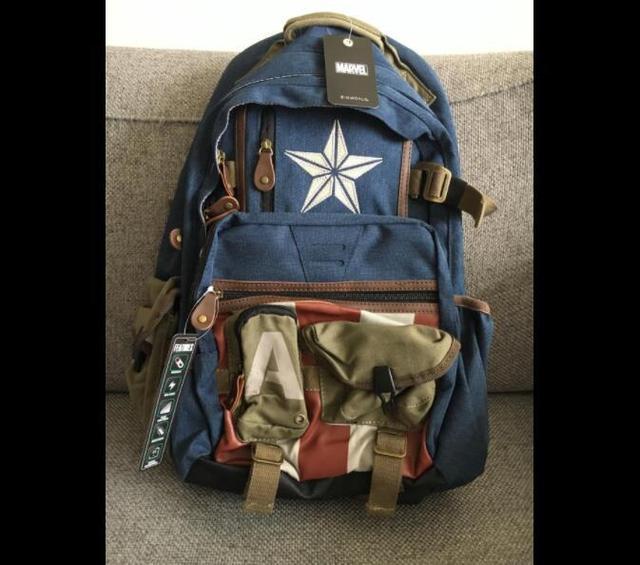 Captain America Cosplay School Shoulder Bag Laptop Travel Backpack