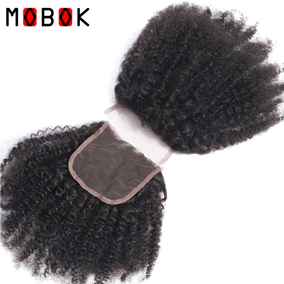 MOBOK Brazilian Human Hair Afro Kinky Curly closure 8 20Inch 4*4 Free Part Lace Closure Natural Color Remy Hair Weaving 1PC/Lot-in Closures from Hair Extensions & Wigs