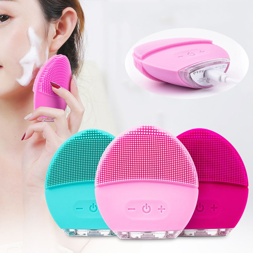 Professional Facial Cleansing Brush Electric Wash Face Cleaner Brush Silicone Face Dry Massage Brush Cleanser
