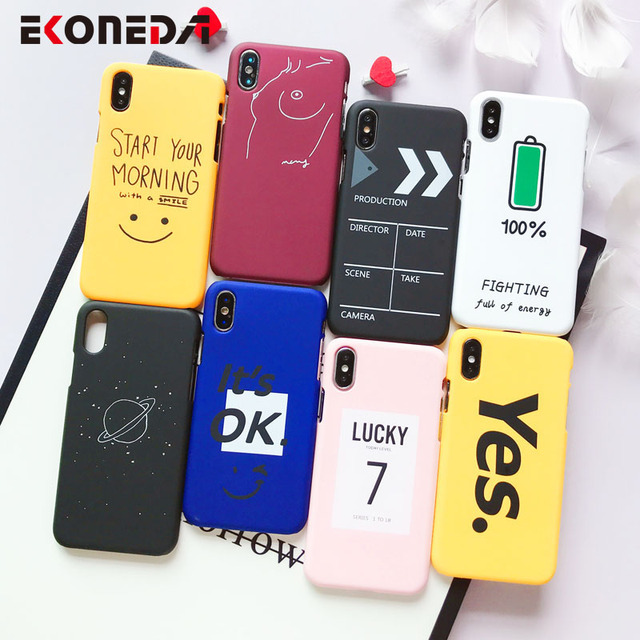 EKONEDA Matte Phone Case For iPhone 6 6S 7 7Plus 8 8Plus X XS Max Cute Words Patterned Plastic Cover Coque For iPhone 7 Case