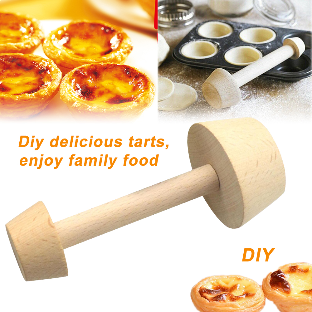 Wooden Tart Tamper Double Side Pastry Egg Tart Pusher Baking Cake Kitchen Tool H